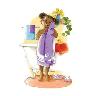 ''Bath Time Giggles (Girl)'' by Sylvia Walker African American Art Print (10 x 8 in.)