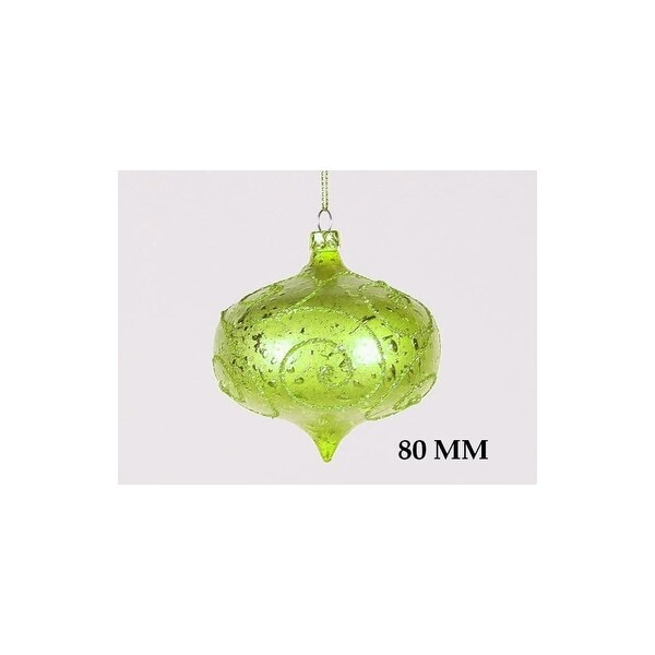 Christmas at Winterland WL-ONION-80-LG 3 Inch Onion Ornament Green with Olive Glitter - Green/Olive - N/A