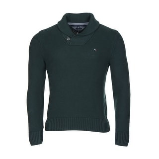 Tommy Hilfiger Portland Sweater Small S Dark Green Shawl Collar Pullover