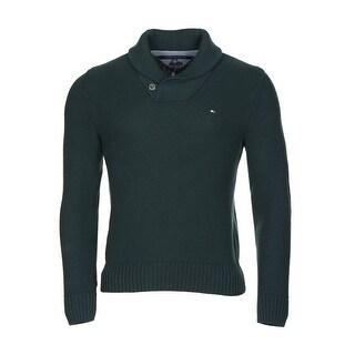 Tommy Hilfiger Portland Sweater XX-Large Dark Green Shawl Collar Pullover - 2XL