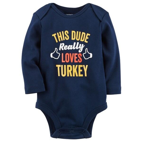 fba34d5e9 Shop Carter s Baby Boys  This Dude Loves Turkey Collectible Bodysuit ...