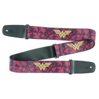 Wonder Woman DC Comics Superhero Gold Logo Crimson Background Guitar Strap