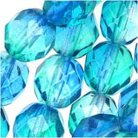 Czech Fire Polished Glass Two Toned Beads 8mm Round Blue Green (25)