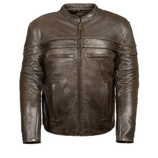 Mens Retro Leather Sporty Scooter Crossover Jacket
