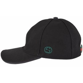 Gucci Men's 387554 BLACK Canvas GG Green Red Web Baseball Cap Hat XL