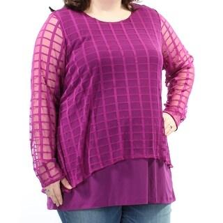 ALFANI $71 Womens New 1359 Purple Long Sleeve Jewel Neck Casual Top 0X Plus B+B