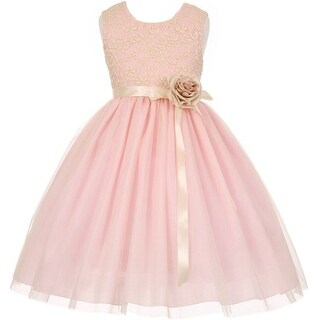 Flower Girl Dress Lace Two Tone Satin Ribbon Pink CC 1142