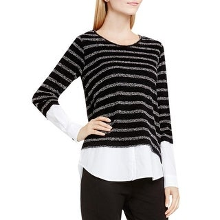 Two by Vince Camuto Womens Pullover Top Mixed Media Striped