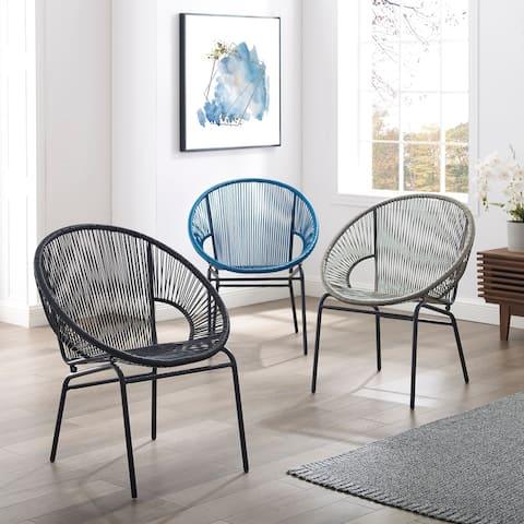 Corvus Sarcelles Woven Wicker Indoor/Outdoor Chairs (Set of 2)