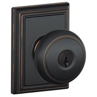 Schlage F51-AND-ADD Andover Keyed Entry F51A Panic Proof Door Knob with Addison Rosette