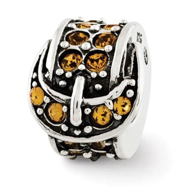 Sterling Silver Reflections Yellow Swarovski Elements Buckle Bead (4mm Diameter Hole)