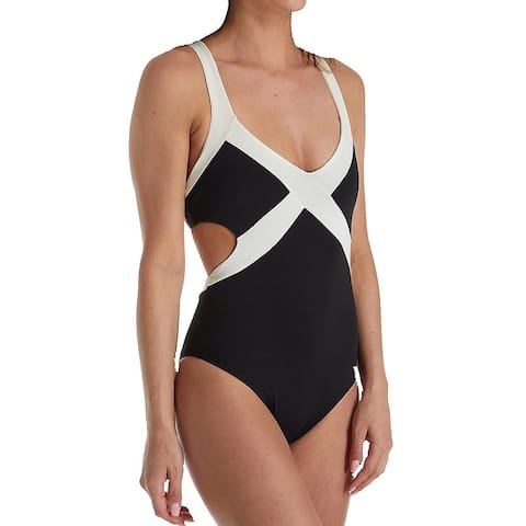 L Space Black White Womens Size 8 Colorblock One-Piece Swimwear