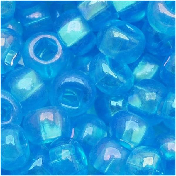 Czech Seed Beads 6/0 Dark Aqua AB (1 Ounce)