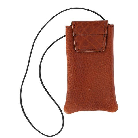 Boston Leather Textured Bison Leather Eyeglass Case with Neck String - one size