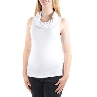 ULTRA FLIRT Womens New 1206 White Cowl Neck Sleeveless Casual Top S B+B