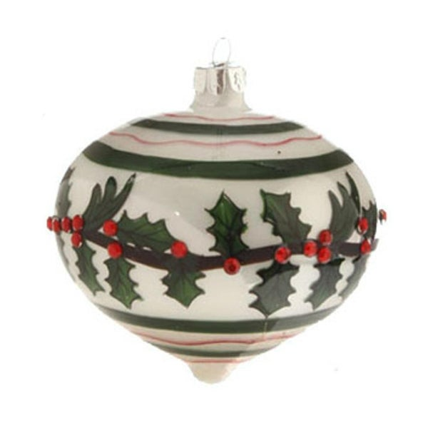 """3.5"""" Glossy White, Red, and Green Jeweled Holly Glass Onion Christmas Ornament - RED"""