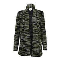 Eci New York Women's Faux Leather Shoulder Trim Boucle Jacket
