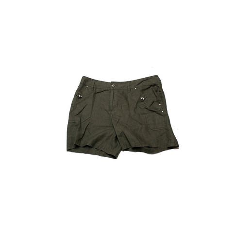 Inc International Concepts Olive Linen Shorts 0