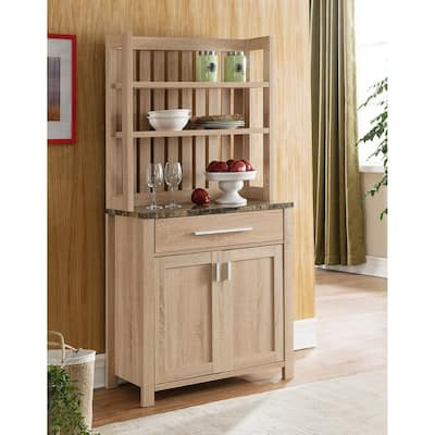 Q-Max Marble and Wood Designed Baker's Cabinet Featuring Two Shelves, One Drawer, and a Two Door Cabinet