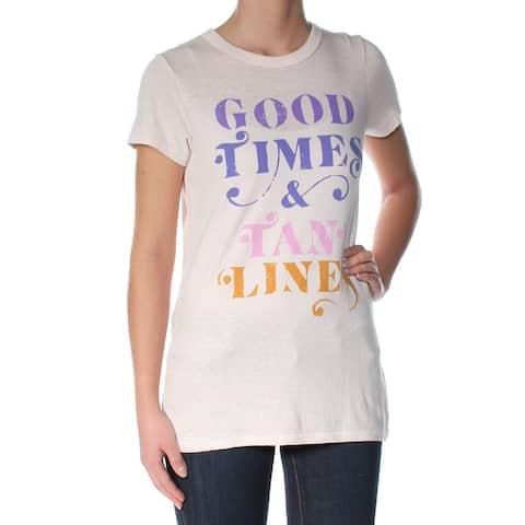 JUNK FOOD Womens Pink Printed Short Sleeve Jewel Neck T-Shirt Top Size: XS