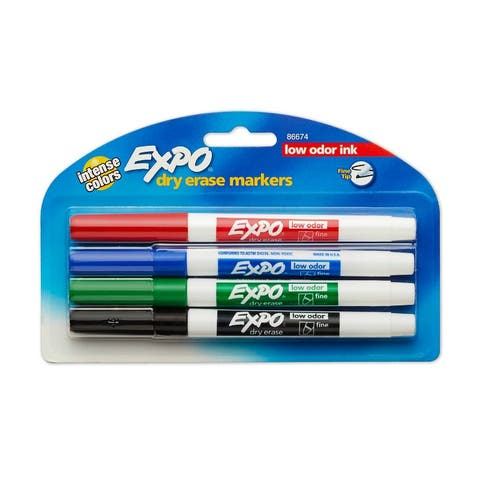 Expo 86674K Low Odor Ink Dry Erase Marker with Fine Point Tip, 4-Pack