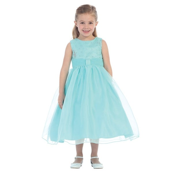 Baby Girls Aqua Organza Glitter Pleated Sash Elegant Flower Girl Dress