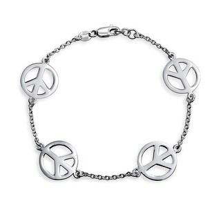 Bling Jewelry 925 Sterling Silver Peace Sign Bracelet 7.5in