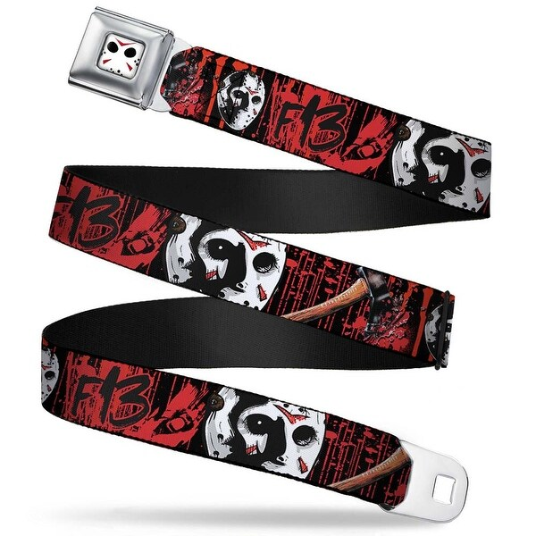 Jason Mask Close Up Full Color Black White Red Friday The 13Th Jason Mask4 Seatbelt Belt