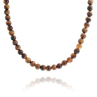 Faceted Brown Tiger Eye Round 8MM Bead Strand Necklace For Women For Men Silver Plated Toggle Clasp 18 Inch