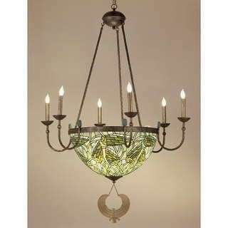 Meyda Tiffany 49092 Stained Glass / Tiffany 10 Light Up / Down Lighting Chandelier from the Lotus Bud Collection