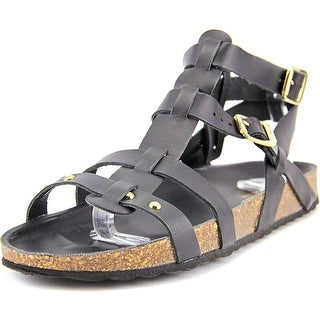 White Mountain Mandolin Women  Open Toe Leather Black Gladiator Sandal