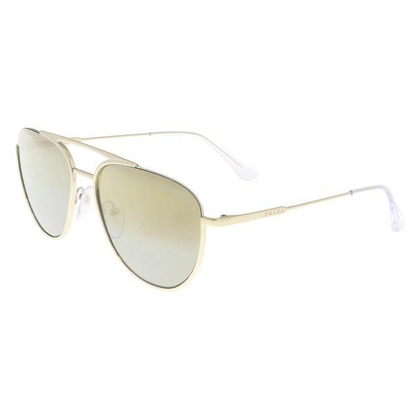 a5468e75bf58 Shop Prada PR 50US ZVN6O0 Pale Gold Aviator Sunglasses - 56-17-140 ...