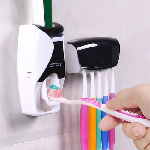 Bathroom Lazy Wall Mount Toothbrush Holder Automatic Toothpaste Dispenser Set