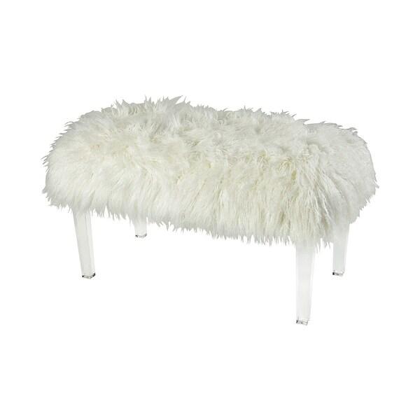 "18"" White Faux Fur Zsa Zsa Bench – Medium - N/A"