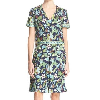Tory Burch NEW Green Womens Size 14 V-Neck Floral-Print Sheath Dress