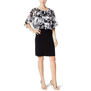 Connected Printed Cape Overlay Sheath Cocktail Dress - 8
