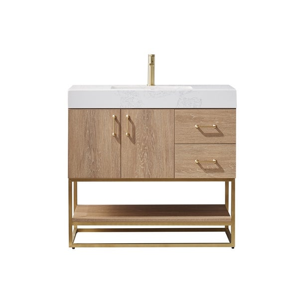 """Alistair 36"""" Single Vanity in North American Oak with White Grain Stone Countertop Without Mirror. Opens flyout."""