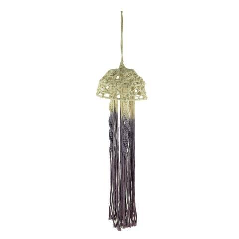 Purple and Natural Dip Dyed Cotton Macrame Hanging Jellyfish