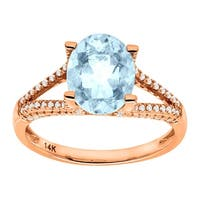 2 1/5 ct Natural Aquamarine & 1/4 ct Diamond Ring in 14K Rose Gold - Blue