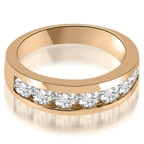 1.40 cttw. 14K Rose Gold Classic Channel Round Cut Diamond Wedding Band