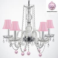 Authentic Empress Crystal Chandelier Lighting With Pink Crystal Balls and Pink Shades