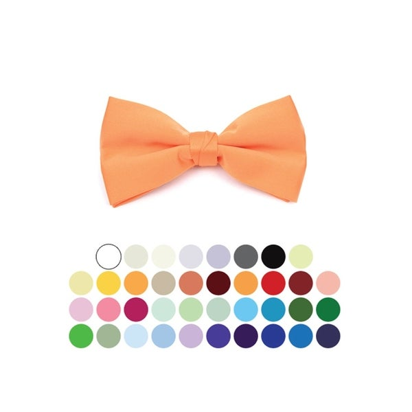 Young Boy's Pre-tied Clip On Bow Tie - Formal Tuxedo Solid Color - One size