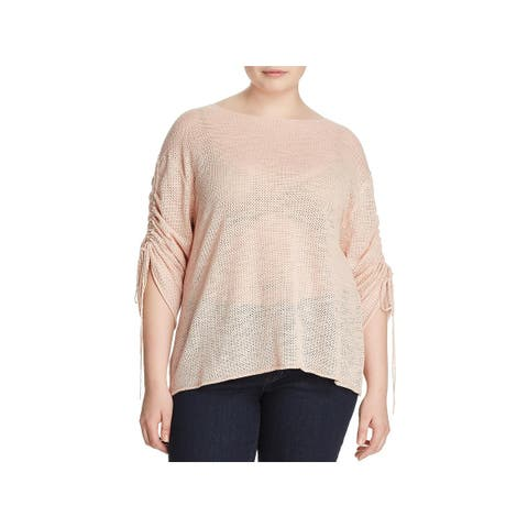 Vince Camuto Womens Plus Pullover Sweater Holey Ruched Sleeve