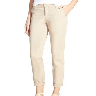Caslon NEW Beige Women's Size 8X28 Flat-Front Cropped Chino Pants