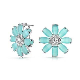 Bling Jewelry Light Blue CZ Daisy Omega Earrings Rhodium Plated Brass