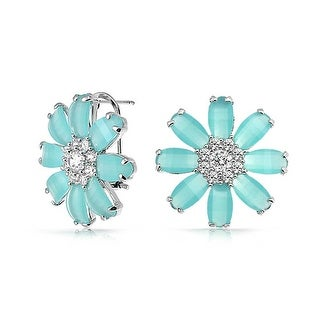 Bling Jewelry Light Blue CZ Daisy Omega Earrings Rhodium Plated Brass