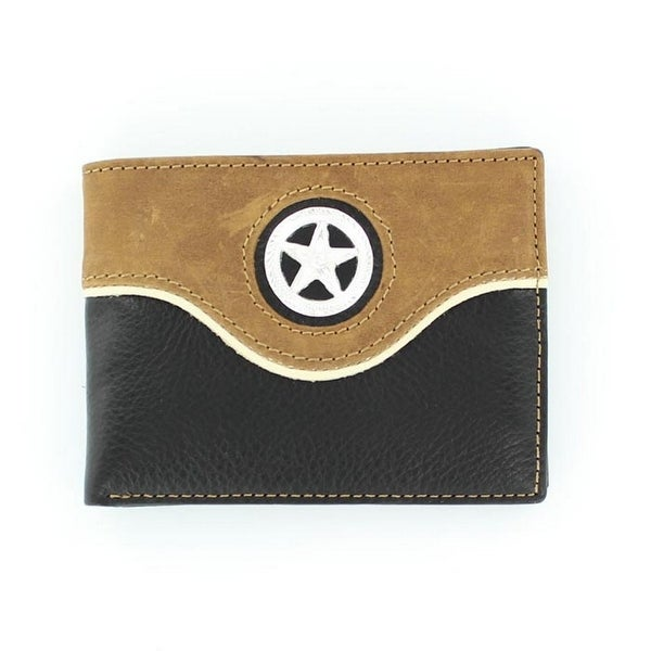 Nocona Western Wallet Mens Bifold Star Concho Black Tan - One size