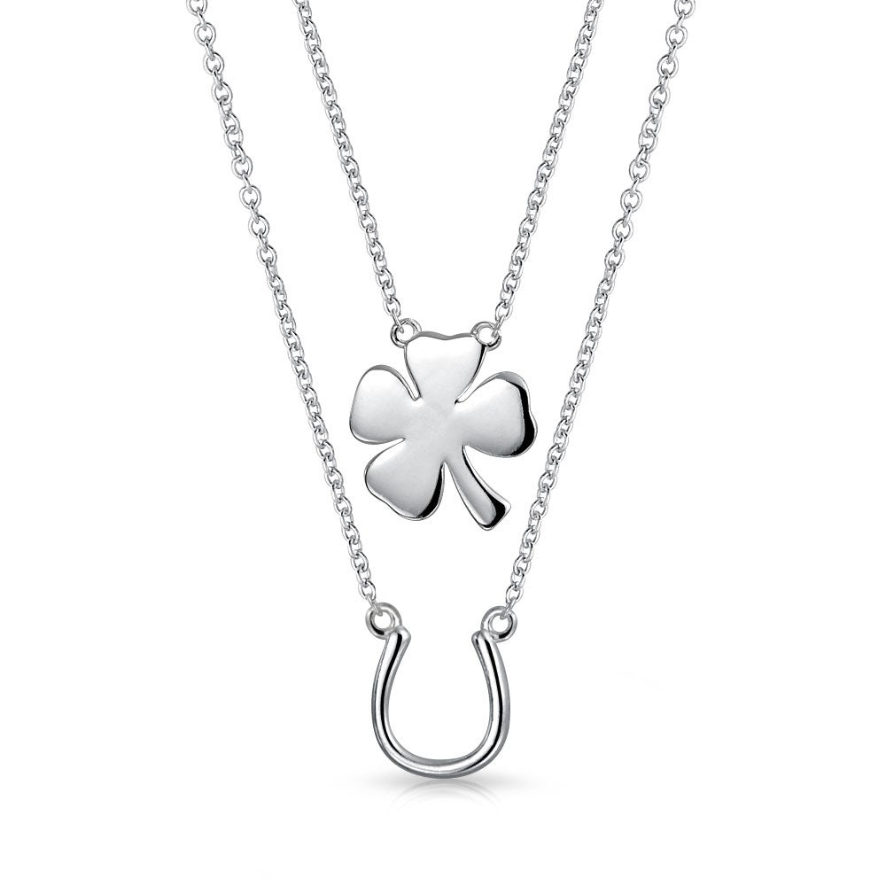Irish Shamrock in Horseshoe Charm Sterling Silver 925 charmmakers