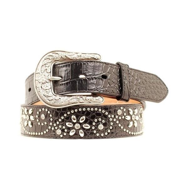 Ariat Western Belt Womens Croc Crystals Floral Studs Black