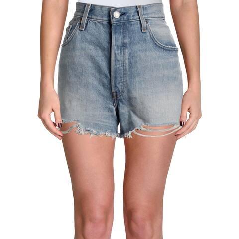 Levi's Womens 501 Denim Shorts High-Rise Cutoff
